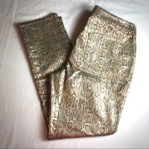 Chicos Platinum Jeans Gold Snake Reptile Print 2.5